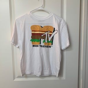 MTV Music Television Burger Graphic Tee NWT